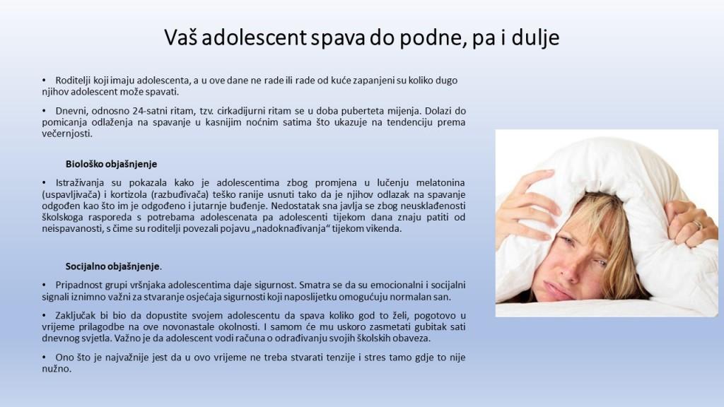 Spavanje u adolescenciji